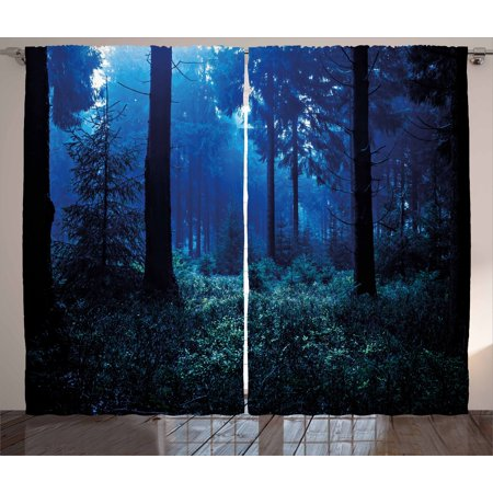 Night Curtains 2 Panels Set, Misty Nature Scene of Autumn Forest in Thuringia Germany Tranquil Woodland, Window Drapes for Living Room Bedroom, 108W X 84L Inches, Blue Green White, by Ambesonne