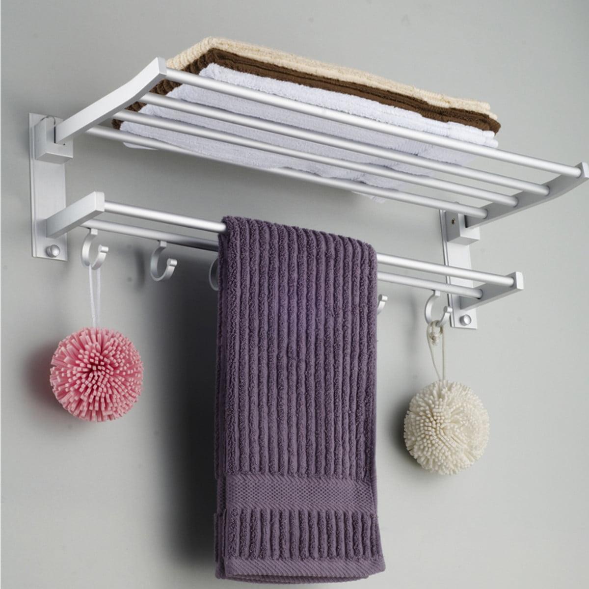 Modern Double Wall Foldable Mounted Bathroom Bath Towel Rail Holder Storage Rack Shelf