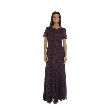 R & M Richards  Plum Lace Popover Dress (Plumb Dress)