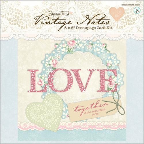 "Papermania Vintage Notes 6""X6"" Decoupage Card Kit-"