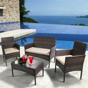 Yangming 4 Pcs Rattan Patio Furniture Set, Outdoor Wicker Sofas Chair Rattan Table for Backyard Garden Poolside Balcony,Brown