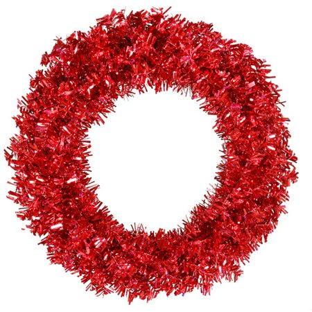 "Vickerman 30"" Prelit Red Hot Wide Cut Tinsel Artificial Christmas Wreath - Red Lights"
