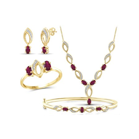Gold Solid Jewelry Set (3.00 Carat T.G.W. Ruby And White Diamond Accent 14K Gold over Silver 4-Piece Jewelry set)
