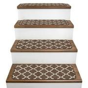 Set of 15 Skid-Resistant Carpet Stair Treads ? Moroccan Trellis Lattice ? Coffee Brown & Vanilla Cream ? 8 In. X 26 In.
