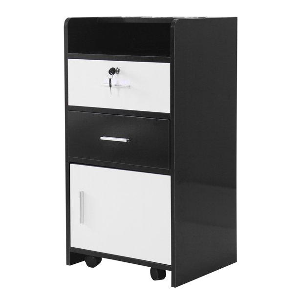 File Cabinet with Lock, 3 Layers Wood Vertical Lockable Rolling File Cart, Lateral File Cabinet ...