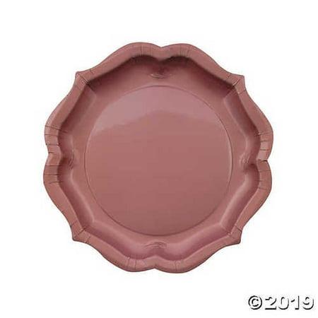 Rose Gold Scalloped Paper Dinner Plates