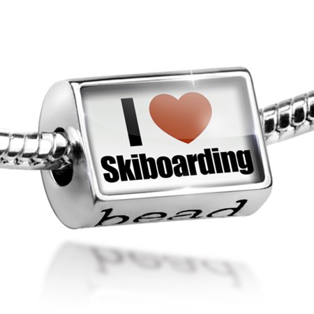 Bead I Love Skiboarding Charm Fits All European Bracelets
