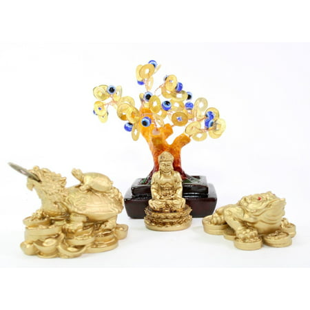 - Set of 4~Feng shui Gold Buddha Blue Evil Eye Money Tree Money Frog Dragon Turtle Home Decor