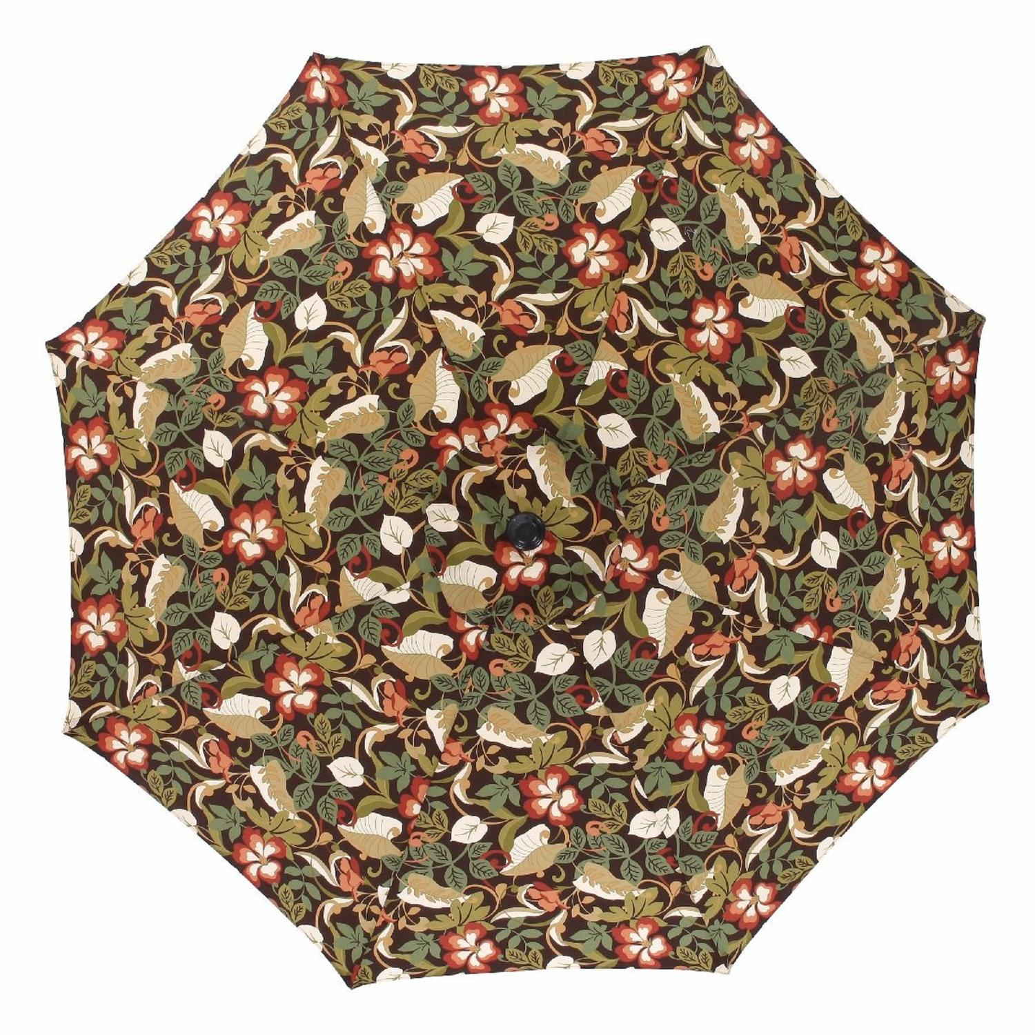 9' Coventry Brown Patio Market Tropical Design Umbrella with Hand Crank and Tilt