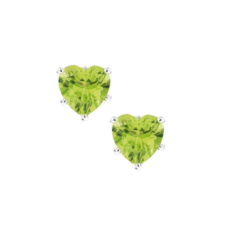 1.80 Ct Heart Shape Green Peridot Silver Earrings 6mm
