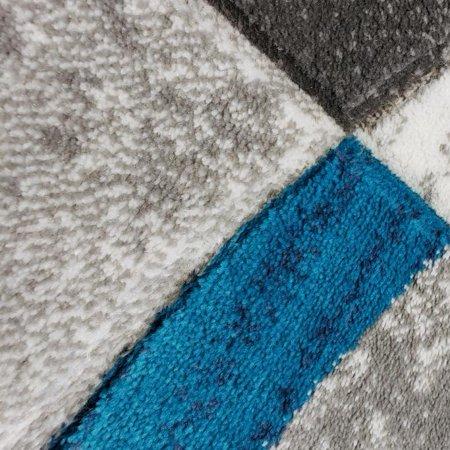 Ladole Rugs Dark Grey Gray Blue Turquoise Modern Geometric