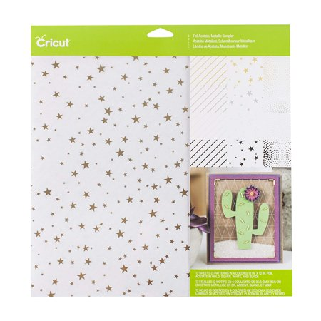 Foil Acetate Metallic Paper, 12 sheets (3 patterns in 4 colors) 12 in. x 12 in. Foil Acetate in Gold, Silver, White, and Black By Cricut