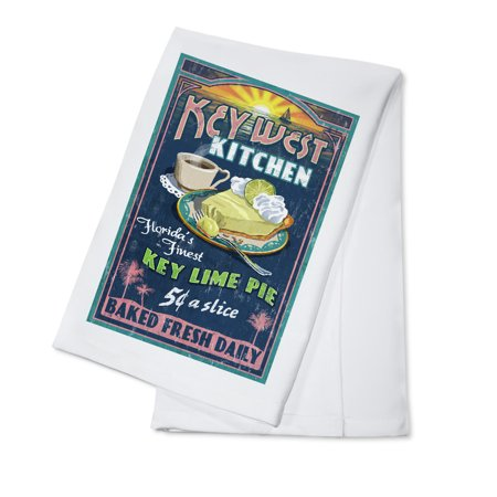 Key West, Florida - Key Lime Pie Vintage Sign - Lantern Press Artwork (100% Cotton Kitchen