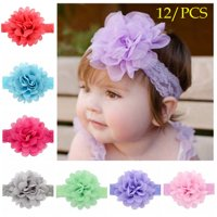 Fascigirl 12PCS Baby Girls Headband Fashion Lace Big Flower Hair Band Elastic Soft Head Wrap Hair Accessories Photo Props for Baby Toddler Newborn Kids Child Girls