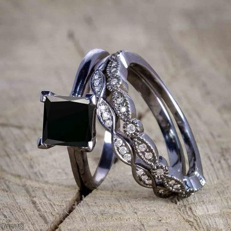 Bestselling 1.50 Carat Princess cut Wedding Ring Set with Black Diamond for Women in Black Gold
