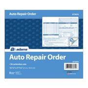Adams Auto Repair Order Book, 3-Part Carbonless, White/Canary/Pink, 8-1/2 x 7-7/16 in., 50 Sets