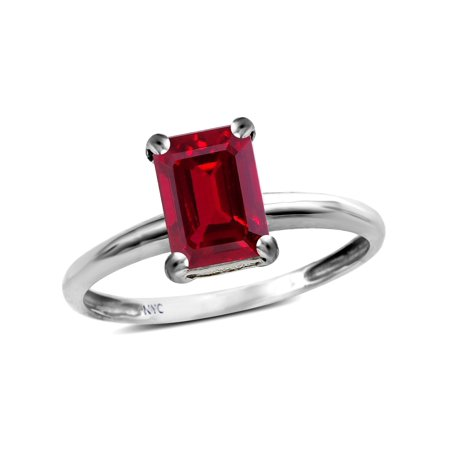 - Star K Classic Octagon Emerald Cut 8x6mm Created Ruby Solitaire Engagement Promise Ring