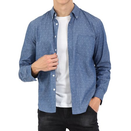 Men Long Sleeve Pocket Weave Casual Button Down Work Denim Shirts