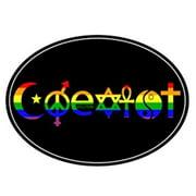 Gay Rainbow Sisters Gay Pride Auto Magnet Coexist