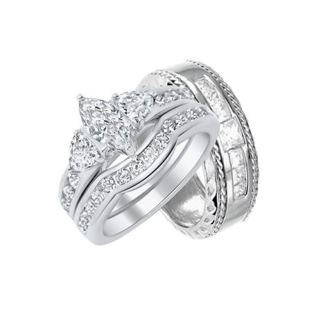 4dbd5a68d6908 Matching Silver Wedding Bands for Bride and Groom Walmart (9/12)
