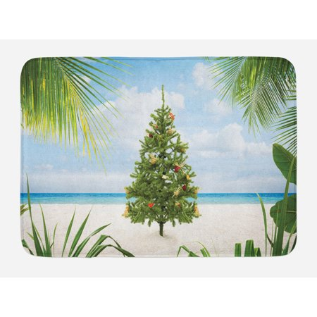 Christmas Bath Mat, Tree with Tinsel and Ornaments Tropical Island Sandy Beach Party Theme, Non-Slip Plush Mat Bathroom Kitchen Laundry Room Decor, 29.5 X 17.5 Inches, Green Blue Cream, Ambesonne - Beach Party Decor