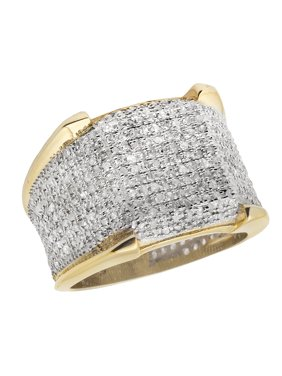 Jewelry Unlimited Men's 10K Yellow Gold 3D Iced Real Diamonds Eternity Pinky Ring 1.50ct