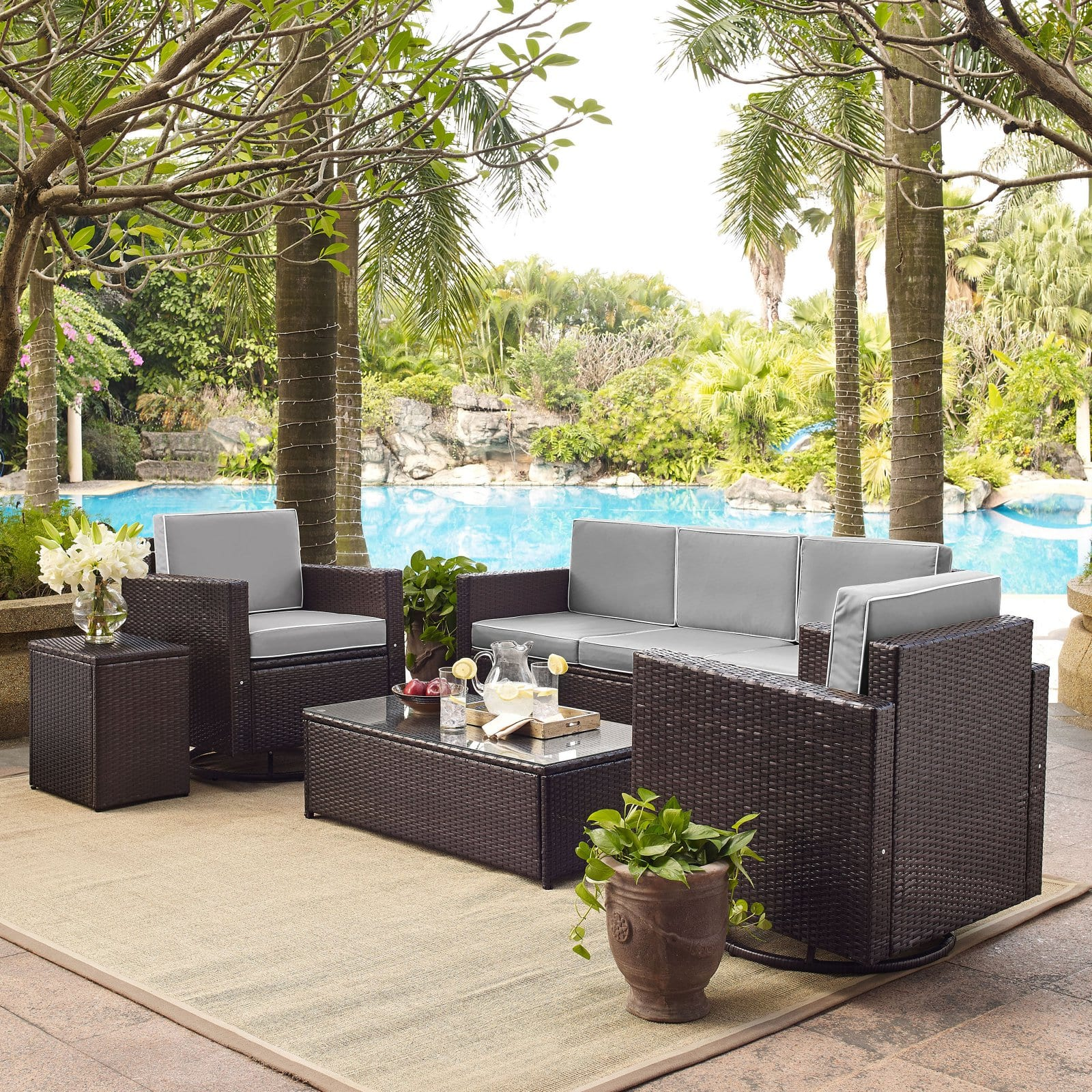 Picture of: Palm Harbor 5 Piece Outdoor Wicker Sofa Conversation Set With Grey Cushions Sofa Two Swivel Chairs Side Table Glass Top Table Walmart Com Walmart Com