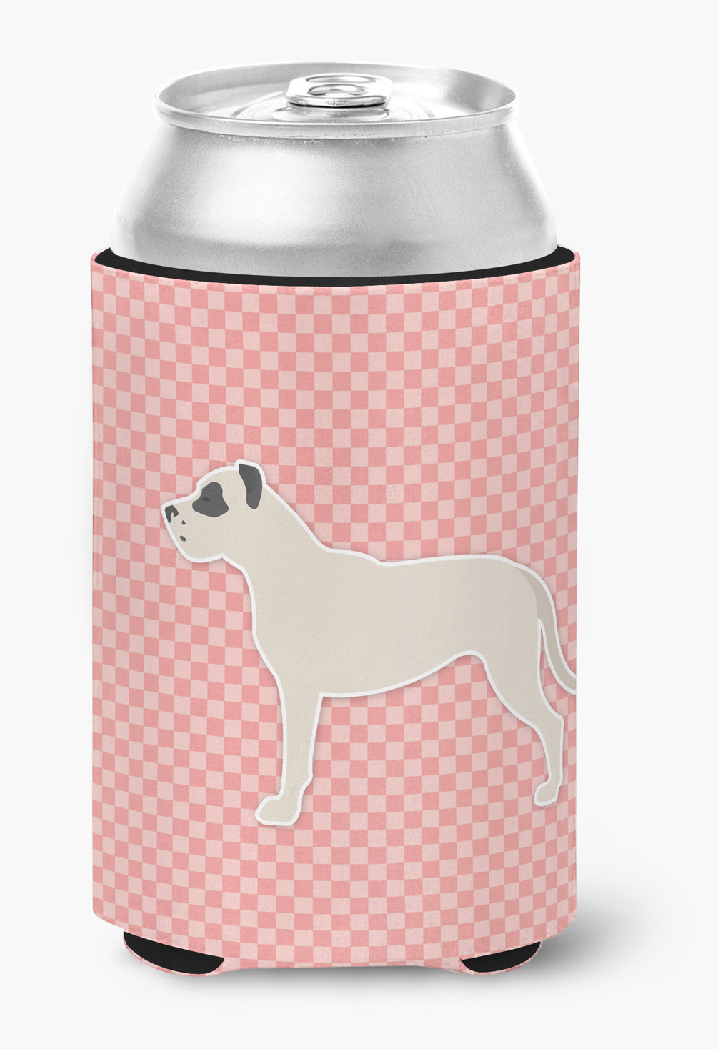 Dogo Argentino Checkerboard Pink Can or Bottle Hugger by Caroline's Treasures