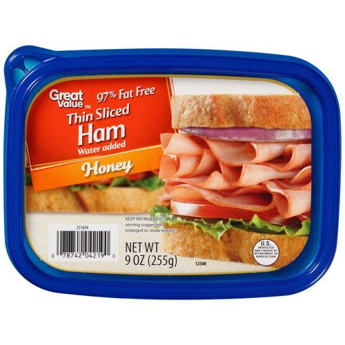 Great Value Deli Sliced Smoked Honey Ham, 9 oz