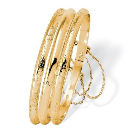 Three-Piece Set of Bangle Bracelets in 18k Gold over .925 Sterling Silver - Gold Bangle