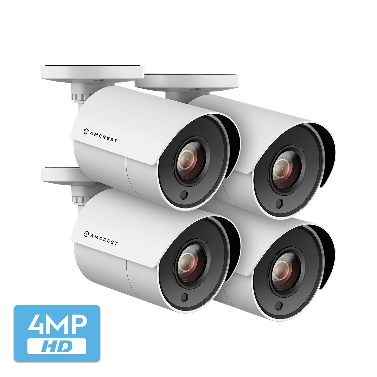 4-Pack Amcrest UltraHD 4-Megapixel Bullet Outdoor Security Camera, 4MP 2688x1440P, Heavy Duty Housing, 2.8mm Lens 100° Wide Angle, White (4PACK-AMC4MBC28P-W)