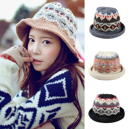 7fd08e49c49 Micelec Women Winter Vintage Pattern Handmade Warm Knitted Hat Brim  Foldable Bucket Hat - Walmart.com