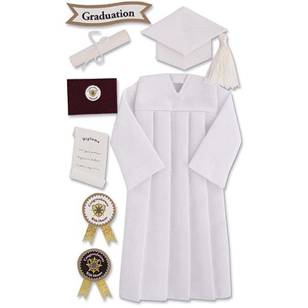 Jolee's Seasonal Stickers, White Graduation Cap and Gown - Walmart.com
