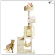 "Loadstone Studio 51"" Cat Kitty Tree Scratcher Play House Condo Furniture Toy Bed Post House Beige, Medium,WMLS1833"