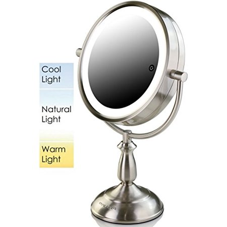 Ovente Dual Sided Makeup Mirror Multi Touch Technology Stainless Steel Quality Stainless Side Mirror