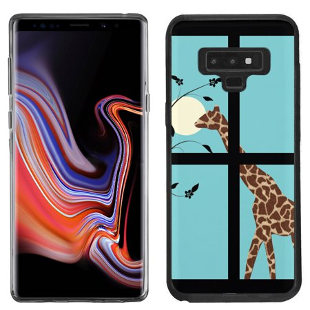 Giraffe Folded Note - For Samsung Galaxy Note 9 Case, OneToughShield ® TPU Gel Protective Slim-Fit Phone Case (Black Bezel) - Moon Giraffe
