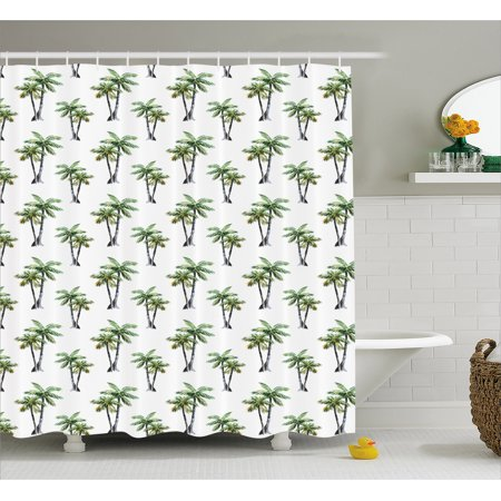 Palm Tree Shower Curtain Botanical Watercolor Artwork Of Hawaiian Aloha Forest Trees In Pairs