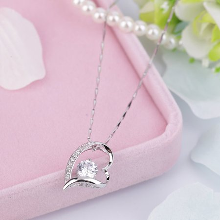 Fashion Charm Jewelry Crystal Heart Pendant Chain Necklace Party Gift - image 4 de 8