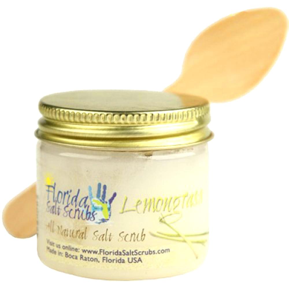 Florida Salt Scrubs Lemongrass Body Feet Hands Bath Salt Scrub 2.9 oz Jar