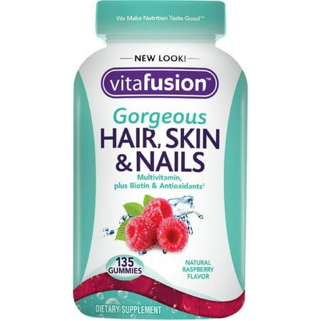 - Vitafusion Gorgeous Hair, Skin & Nail Multivitamins Gummies, Natural Raspberry Flavor 135 ea (Pack of 4)