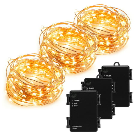 (Kohree 3 Pack 100 LEDs Christmas String Light Battery Powered on 33ft Long Ultra Thin String Copper Wire with Timer)