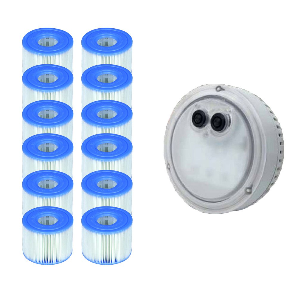 Intex PureSpa Light for Bubble Spa Hot Tub + S1 Replacement Cartridges (12 Pack)