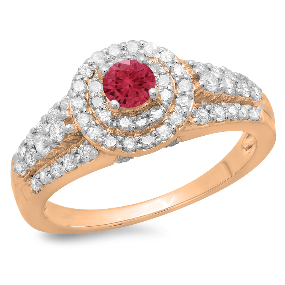 1.00 Carat (ctw) 10K Rose Gold Round Cut Red Ruby & White Diamond Ladies Vintage Style Bridal Halo Engagement Ring 1 CT