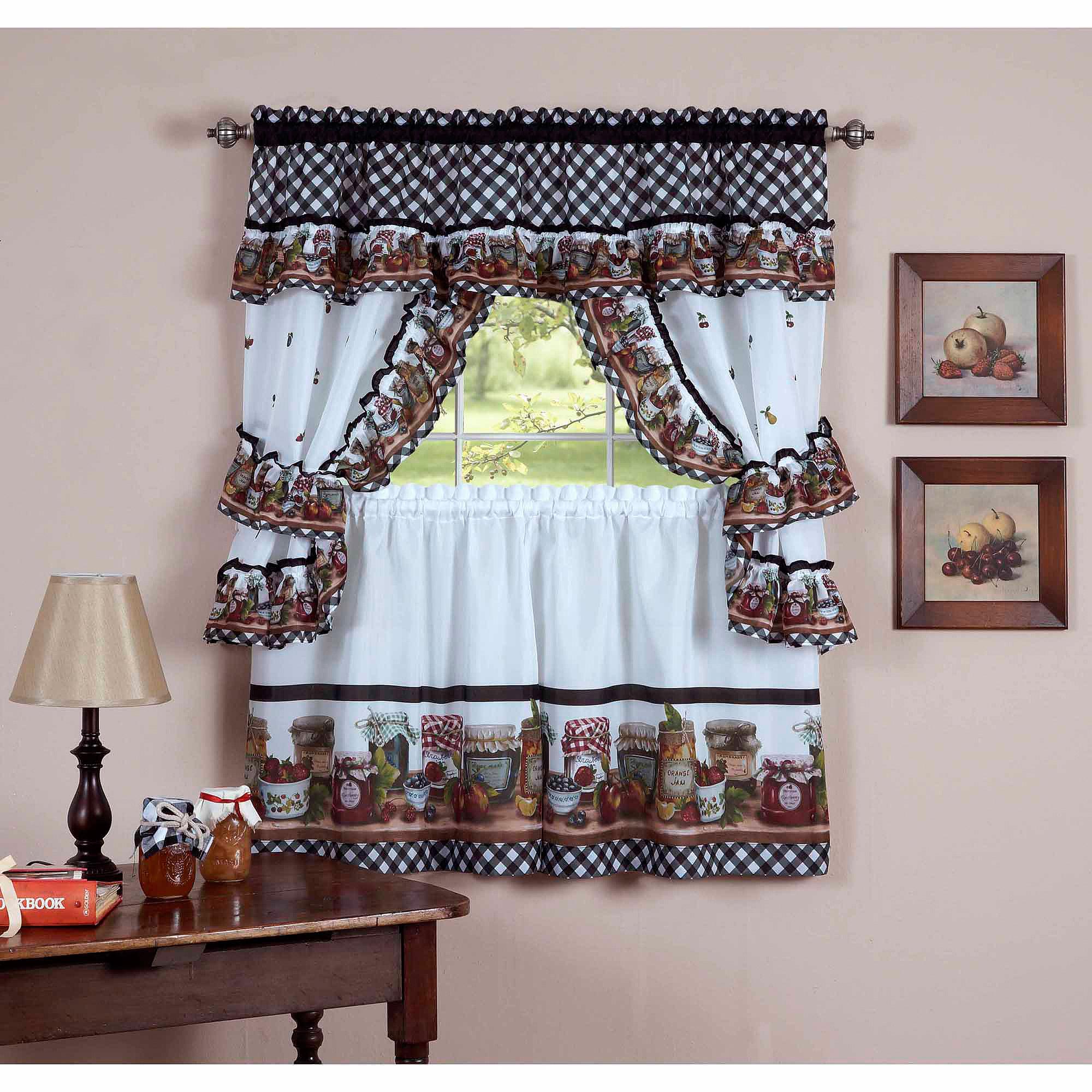 Achim Cottage Window Curtain Tier Set, Mason Jars