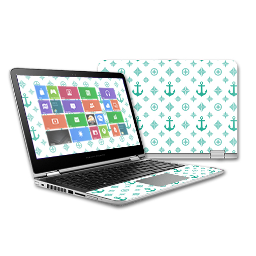 MightySkins Protective Vinyl Skin Decal for HP Pavilion x360 - 13t Touch Laptop case wrap cover sticker skins Teal Designer