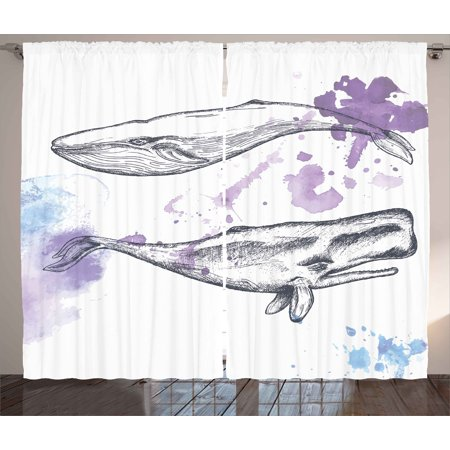 Whale Curtains 2 Panels Set, Grunge Ocean Mammals with Paintbrush Effects and Brushstroke Murky Artwork, Window Drapes for Living Room Bedroom, 108W X 63L Inches, Lavender Grey Blue, by - Lavender Grey