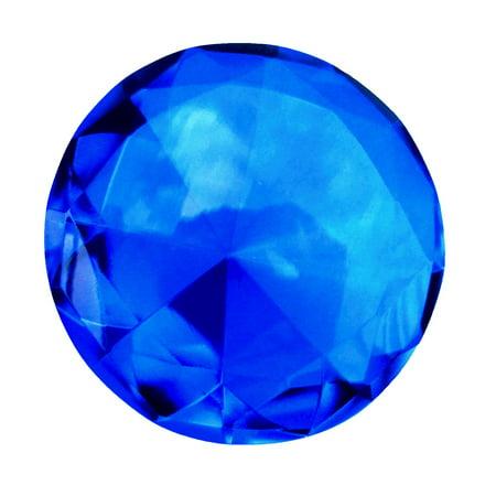 Gem Cut Paperweight (Big 60mm Cobalt Blue 60 mm Cut Glass Crystal Giant Diamond Jewel Paperweight)