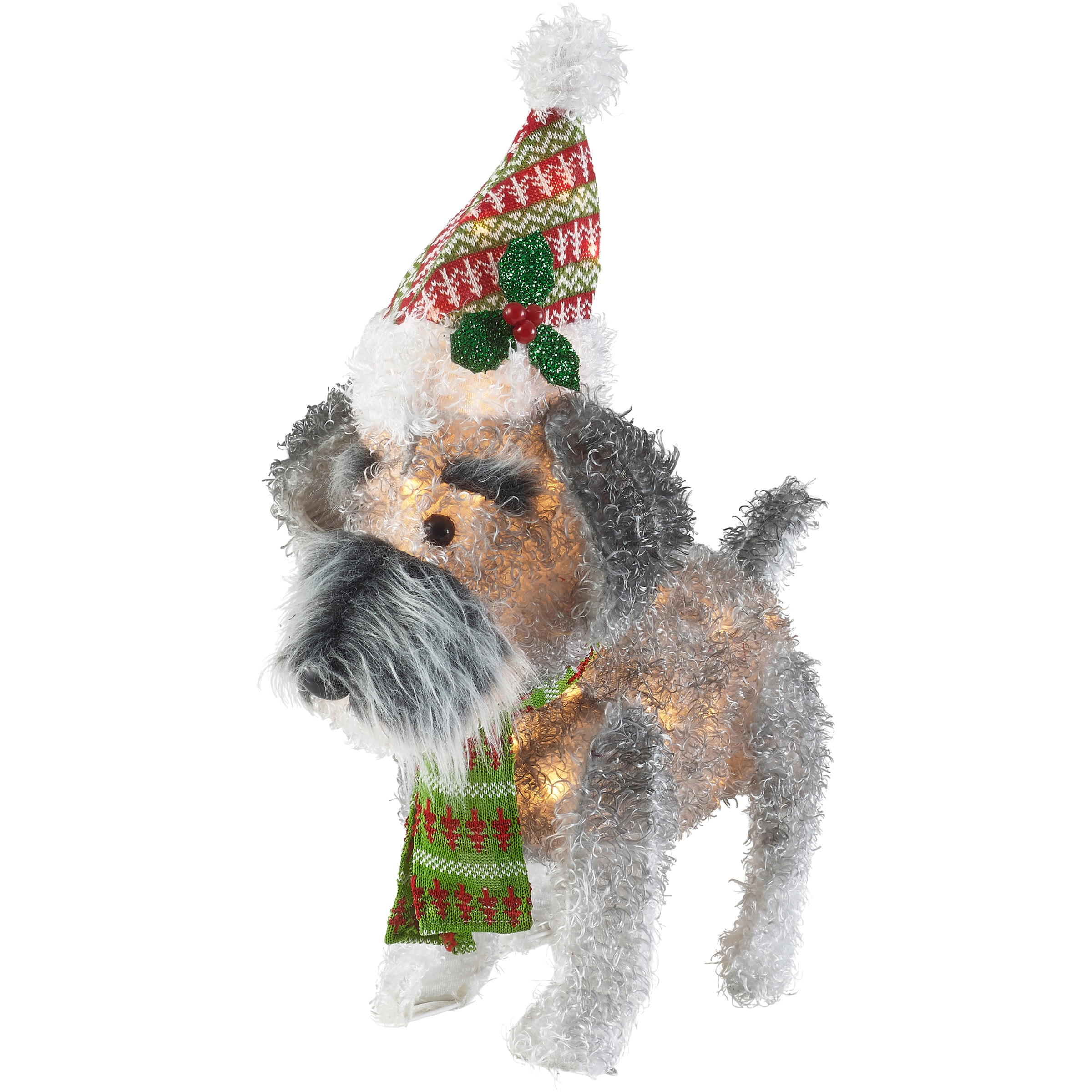 Holiday Time 25-Inch Light-Up Fluffy Schnauzer with 35 Lights, Indoor or Outdoor Use