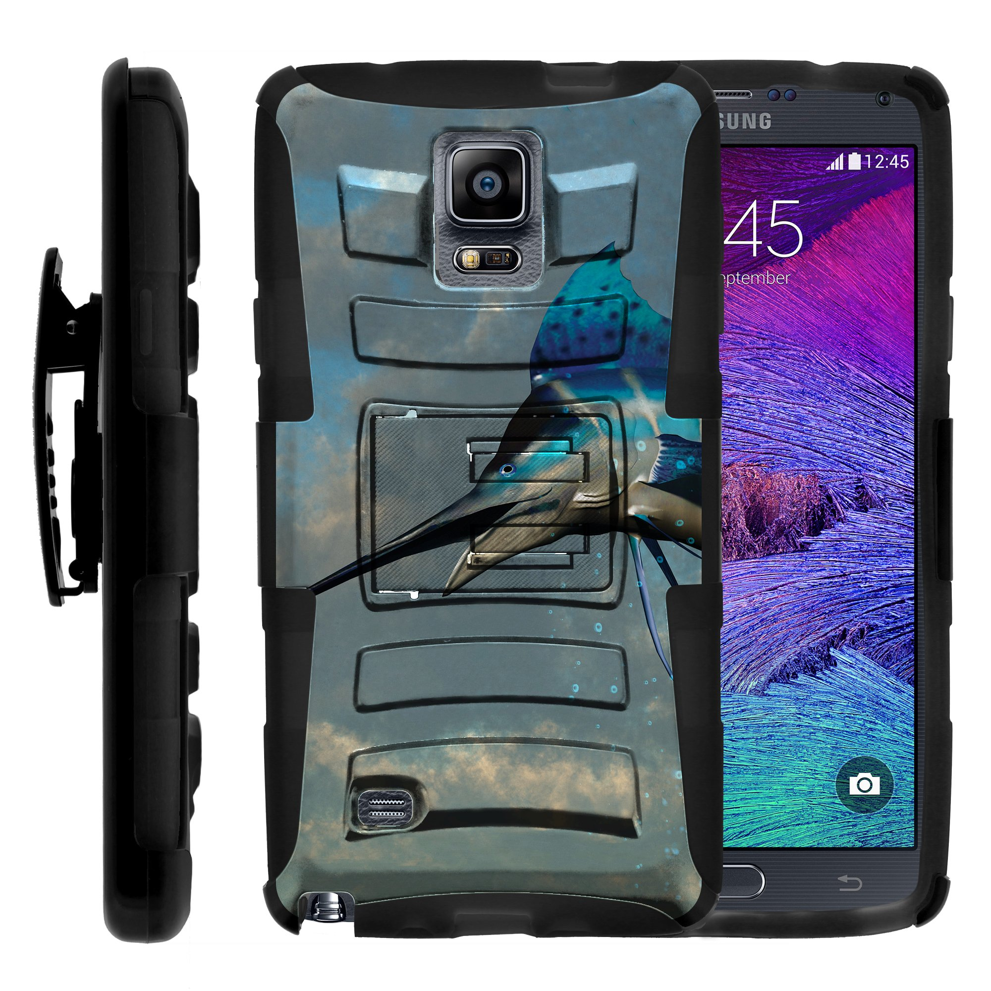 TurtleArmor ® | For Samsung Galaxy Note 4 N910 [Hyper Shock] Hybrid Dual Layer Armor Holster Belt Clip Case Kickstand - Jumping Marlin