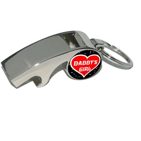 Daddy's Girl, Love, Heart, Plated Metal Whistle Bottle Opener Keychain Key (Silver Chrome Girl)